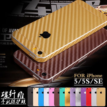 New For iPhone 5S 5 SE Luxury 360 Degree Full Body Decal Skin Carbon Fiber Film Phone Protective Sticker Wrap Phone Case