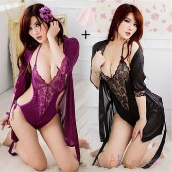 LMFUG3 New Women Sexy Lingerie Satin Lace Kimono Intimates Sleepwear Robe With Belt Set Nightgown Set Plus Size [9221944708]