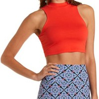 Cotton Mock Neck Crop Top by Charlotte Russe