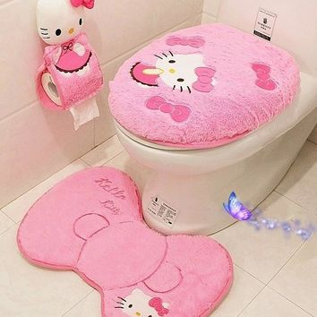 Hello kitty bathroom set toilet set cover wc seat cover bath mat holder closestool lid cover 4pcs set Toilet seat cushion