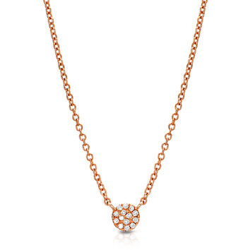 Petite Pave Disc Necklace - 4.5mm Diameter