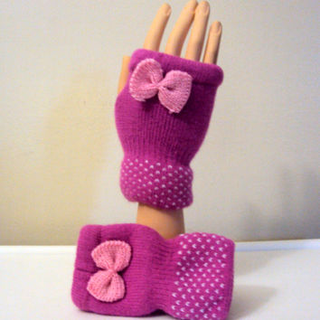 Knit Fingerless Gloves with Bow Pink Gloves Women Kids Clothing Fashion Accessories Gift Ideas