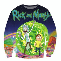 Raisevern new fashion Rick and Morty 3D sweatshirts men women harajuku hoodies popular cartoon anime print pullovers tops