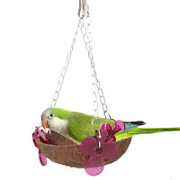 Bird Hanging Toys Coconut Shell Chain Hanging Parrot Squirrel Nest Holder Platform Pets Playing Standing Bird Training Toy