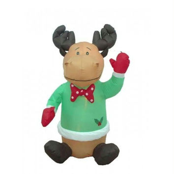 Inflatable Reindeer Christmas Yard Art - Self Inflates In Minutes, Blower Included