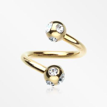 Gold Plated Aurora Gem Ball Twist Spiral Ring