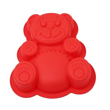 17*15.5*3cm DlY Cartoon Bear Shape 3D Silicone Cake Mold Baking Tools Bakeware Maker Mold Tray Baking QW897323