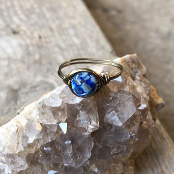 Blue reconstructed shell ring, wire ring, shell ring, blue stone ring, beach ring, bohemian ring, wire wrapped ring, wire wrap ring, hippie