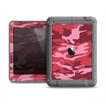 The Pink and Red Tradtional Camouflage Apple iPad Mini LifeProof Fre Case Skin Set