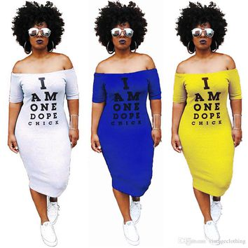 Black White Summer Women Sexy Short Sleeve Dress Letter Printed Loose Casual Party Club Dresses Size S-3XL