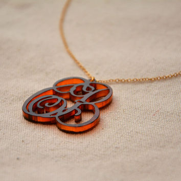 Monogram Name Necklace for 2 letters of First and Last Name Custom made from acrylic
