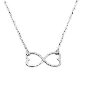 925 Sterling Silver infinity  Heart Curve necklace