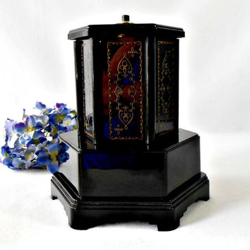 Vintage 1940s Cigarette Dispenser, Lipstick Holder, Swiss Harmony The Rondelay Revolving Music Box, Tobacciana Collectible, Bar Accessory
