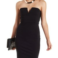 Black Caged-Back Strapless Bodycon Dress by Charlotte Russe