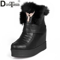 large size 34-43 New Women Ankle Boots Thick Platform High Heel Hidden Wedge Shoes rabbit Fur Keep Warm Winter Boots Snow Boots