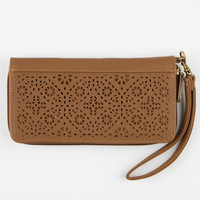 T-Shirt & Jeans Perforated Zip Around Wallet Cognac One Size For Women 25140140901
