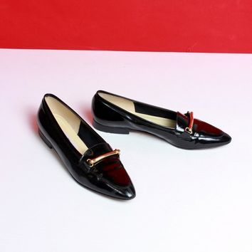 Black Patent Leather Horsebit Loafers / Size 9