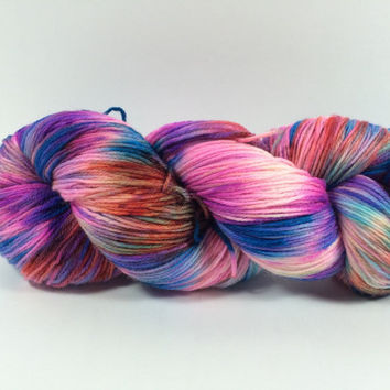 MCN, Pampered Sock, 100 grams, Color, First Set At Sunset, Hand Dyed yarn, cashmere, nylon, superwash merino, sock yarn, multi colored yarn