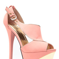 Salmon Gold Luxury Peep Toe Heels