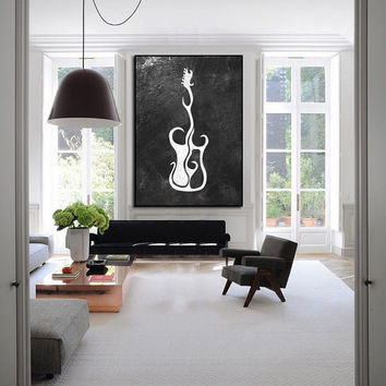 Extra large abstract painting, large wall art, large painting wall art, guitar original paining, Abstract acrylic painting on canvas