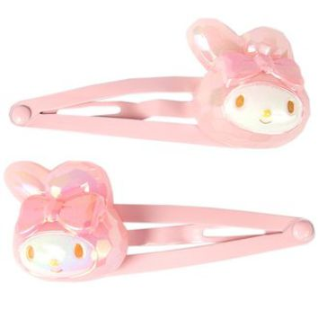 A my melody jewel style three pin hairpin ☆ Sanrio kids hair accessories series ★ black cat DM service is possible