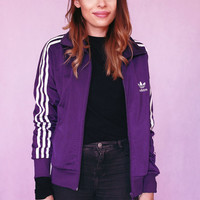 90s ADIDAS jacket Sports oldschool sporty sweatshirt. Purple + White lined Vintage Bomber Jacket SIZE: MEDIUM