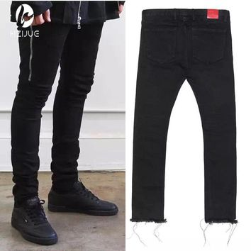 Mens Black Skinny Jeans 424 FourTwoFour Side Zipper Raw Edges Men Designer Denim Jeans Kpop Streetwear Free Shipping