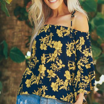 Off The Shoulder Bell Sleeve Top Navy