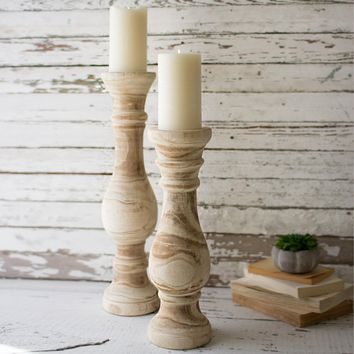 Hand Carved Wooden Candle Stands (Set of 2)