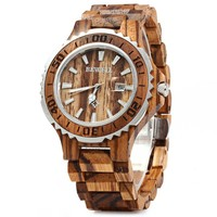 BEWELL 2017 Luxury Brand Wooden Men Quartz Watch with Luminous Hands Calendar Water Resistance