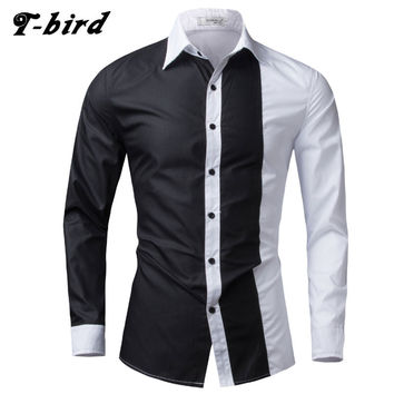 T-Bird 2017 Fashion Brand Men Shirt Black White Dress Shirt Long Sleeve Slim Fit Camisa Masculina Casual Male Hawaiian Shirts