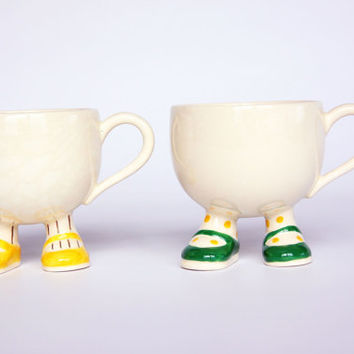 Walking ware coffee cups, Carlton Ware England, Lustre Pottery 1973, retro doll kitchenware, vintage yellow striped cup, green polka dot cup