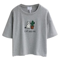 Persun Gray Embroidery Letter And Cat Short Sleeves Crop T-shirt Top,One Size,Grey