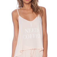 Wildfox Couture I Need Coffee Sleep Set in Peach