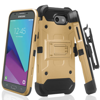 Galaxy J3 Emerge Case, Rugged Tri-Defender Hybrid Holster [Kickstand] Rotating Clip Case for Samsung Galaxy J3 Emerge - Gold