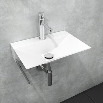 "Minimal 15-3/4"" Wall Bathroom Washbasin Sink Lavatory Vanity, Stainless Steel With Towel Bar"