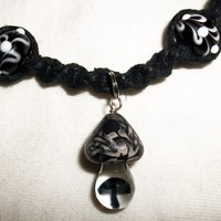 Black and White Celtic Mushroom Hemp Necklace with Magnetic Properties