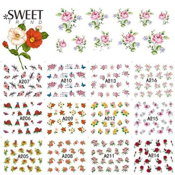 12 Designs in 1 Sweet Blooming Flower Nail Art Water Transfer Stickers Decals Beauty Nail Tips Decoration Tools LAA205-216
