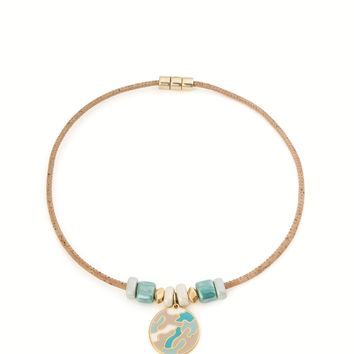 Necklace With Emerald Green White Pendant (Beige)