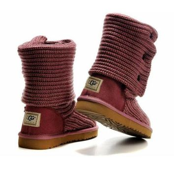 DCCK8X2 UGG' Women Fashion Weave Wool Snow Boots Pink