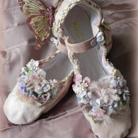 woodland fairy ballet slippers, magical slippers, embellished leather ballet flats