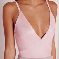Missguided - Stripe Bodysuit Pink