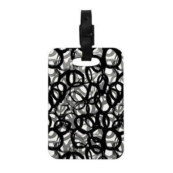 "Emine Ortega ""Rhythm"" Black Gray Decorative Luggage Tag"