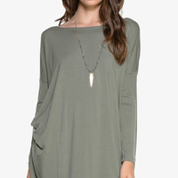 "PIKO ""Everything"" Long Sleeve Tunic - Olive"