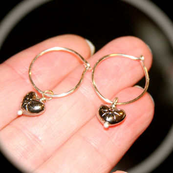 Valentine's Day Cartilage Hoop Earrings, Heart Hoop Earrings, Sterling Silver Hoop Earrings, Lobe/Cartilage/Helix/Tragus
