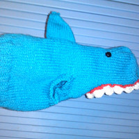 Hand Knit One-Size-Fits-Most Shark Costume for Cats or Small Dogs