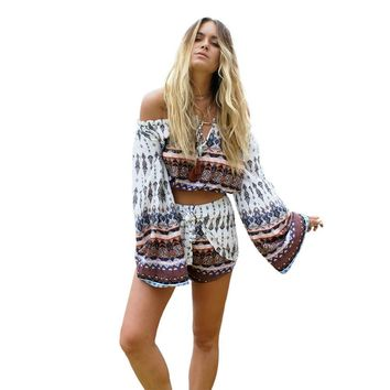 Boho Cut-Off Long Flare Sleeve Blouses and Shorts (Two Piece)