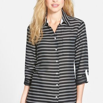 Women's Foxcroft Horizontal Satin Stripe Roll Sleeve Shirt,