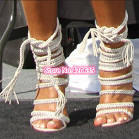 Sexy Chains Rope Sandals Strappy High Heel Gladiator Sandals Women Lace Up Ankle Strap Women Shoes Sandalias Femininas