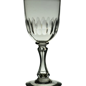 Hollow Stem Hexagonal Port or Sherry Glass Antique English 19th Century